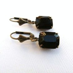 Vintage Black Opaque Jewel Glass Rectangle and by TheSilverDog, $10.00
