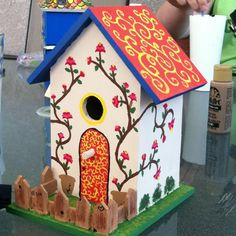 An afternoon painting a bird house is a great summer activity!