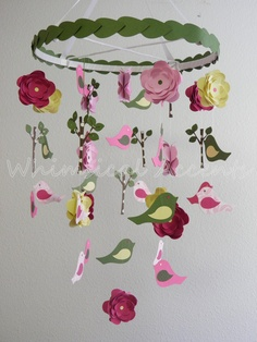 Sunny Garden Baby Mobile with Flowers, Trees and Birds. 75.00$, via Etsy.