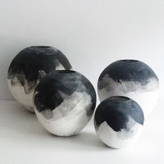 Our wabi-sabi black & white brushed ombre moon vases are all hand-thrown and trimmed on the wheel using stoneware clay. Once trimmed and bisque fired, each vase is hand painted in layers of our custom Ceramic Decor, Ceramic Pottery, Pottery Art, Ceramic Art, Stoneware Clay, Porcelain Ceramics, Modern Ceramics, White Ceramics, Pottery Painting Designs