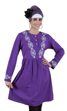 This kurti has white button's near the neck opening for easy access. Embroidery around the neck as well as the sleeve cuffs.