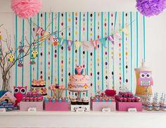 Ideas DIY para un cumple con Búhos y Lechuzas. #Cumpleaños #Eventos #Bautismos #MundoMab  Kit imprimible Lechuzas Violetas aquí http://mundomab.com/index/tienda/lechuzas-violetas-kit-de-cumpleanos-para-imprimir/