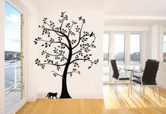 Large Tree and Cat Wall Decal Stickers Decoration Decorative Living Room Mural Vinyl 135cm Wide X 183cm High Black Color >>> Check this awesome image  : home diy wall