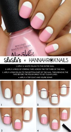 Mani Monday: Pastel Pink and White Mani Tutorial (using striping tape) - Lulus.com Fashion Blog