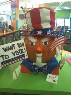 This Uncle Sam pumpkin is a 2012 entry in the Keller Public Library pumpkin decorating contest.