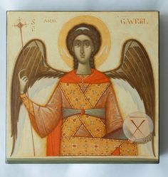 Archangel Gabriel by Gabriel Toma Chituc Religious Icons, Religious Art, Crafty Angels, Illuminated Manuscript, Modern Art, Religion, Illustration, Artwork, Fun