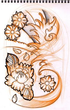 sketch peony cherry blossoms by Willem on Artician
