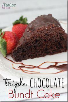 Triple Chocolate Cake, Chocolate Bundt Cake, Chocolate Ganache Use yellow cake mix, 3/4 c oil and water, no whipping cream