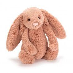 Jellycat, Knuffel konijn Bashful apricot bunny 18 cm. Deze abrikooskleurige bunny van Jellycat is een verlegen meisje met een fluweelzacht vachtje, roze neusje, mooie lange flaporen en een wit staartje.
