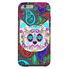 Hipster Cat Sugar Skull Teal Pink Retro Paisley iPhone 6 Case