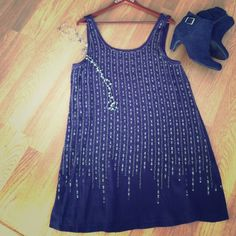 Eye-catching party dress NWOT, never worn, dark navy with gunmetal beading & accents. Very comfortable shift dress!! Forever21 Contemporary Dresses Midi