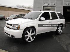"2008 Chevrolet Trailblazer Ss 26 "" Wheels All Custom Chevy Ss, C10 Chevy Truck, Chevy Trucks, Chevy Trailblazer Ss, Gmc Suv, Jeep Mods, Utility Trailer, Best Kids Toys, Trail Blazers"