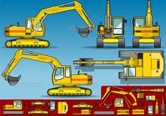 Yellow Excavator in Five Orthogonal Position #GraphicRiver Detailed illustration of a yellow excavator in five orthogonal position. This illustration is saved in EPS10 with color space in RGB. Where possible, the objects have been grouped to make it easily editable or hidden. Created: 29May13 GraphicsFilesIncluded: JPGImage #VectorEPS #AIIllustrator Layered: Yes MinimumAdobeCSVersion: CS Tags: build #bulldozer #construction #crawlers #dig #earthmover #engineering #excavate #exca...