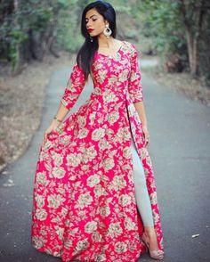2015 summer beach casual print lace bodycon women's dress long sleeve long d Party Wear Indian Dresses, Indian Gowns Dresses, Pakistani Dresses, Party Wear Kurtis, Indian Designer Outfits, Indian Outfits, Designer Dresses, Kurti Neck Designs, Kurti Designs Party Wear