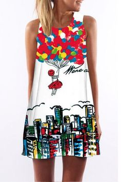 Colourful Random Floral Print Round Collar Sleeveless Mini Dress