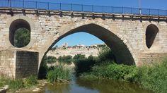 Composición con la Catedral y las Peñas de Santa Marta desde el Puente de Piedra.