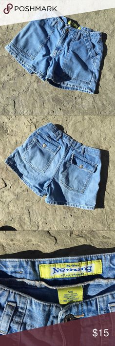 """Denim shorts junior size 5/6 Brand is called 'Nothing' (tagline: 'we wear Nothing all over the world) The denim is fragile under the snap on the back left pocket. Otherwise they are in good condition.  My daughter wore them when she was a teenager. Approx measurements: 10"""" rise, inseam 3.5"""", waist 29"""" Thanks for looking! Bottoms Shorts"""