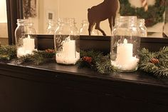simple jars, snow, flameless candles, and greens...