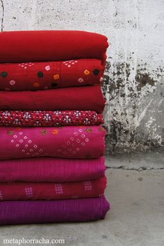 khadi textile in shades of pinks and reds ..