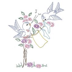 IVAB7241 Cutest Blue Bird Romance Vintage Embroidery Transfer PDF Instant Download!