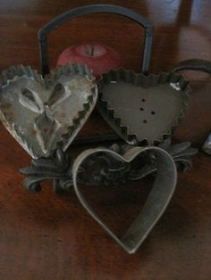 Antique 1800s THREE Folk Art Tin HEART Cookie Cutters