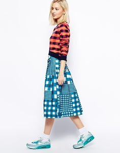 House Of Holland Oxford Full Skirt in Mixed Gingham Print