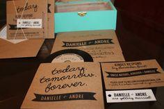 Rustic kraft paper wedding invitation. Totally DIY (even the cd sleeves!)