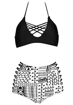 99761593df SAILING Black White High Waist Monokini Halterneck Bandage Lace-up Bikini  Set Plus Size Women