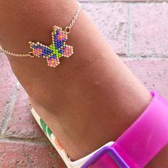 Friendship Bracelets Designs, Bracelet Designs, Peyote Stitch, Brick Stitch, Anklet, Seed Beads, Butterfly, Jewlery, Decoration