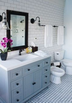 Master Bathroom Reveal - Parent's Edition - The Lilypad Cottage Master Bathroom Decor - love the tile and those pendents!<br> Master Bathroom Decor Ideas, beautiful blue and grey marble bathroom. Grey Marble Bathroom, Small Bathroom, Bathroom Ideas, Bathroom Vanities, Bathroom Cabinets, Bathroom Storage, Remodel Bathroom, Restroom Cabinets, Bathroom Renovations