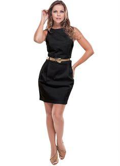 Vestido em Sarja Acetinada Preto Maria.Cristina - Posthaus