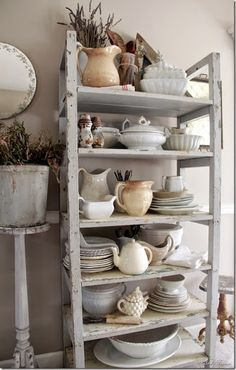 I loooove this shelf! Looks easy enough to build. Mismatched Vintage Ironstone Collection - lovely display of ironstone on a rustic vintage farmhouse cart - Kinser Home, Farmhouse Dreams Vintage Farmhouse, Farmhouse Decor, Farmhouse Style, Shabby Chic Zimmer, Vibeke Design, Creation Deco, White Dishes, White Pitchers, Country Kitchen
