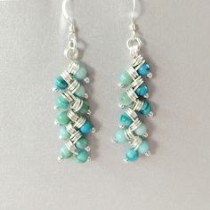 As Seen On Jane The Virgin Silver Turquoise Dangle Earrings LBD1128