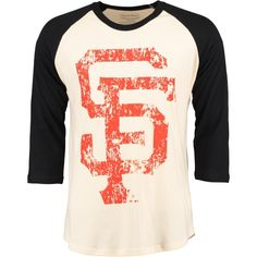 MLB San Francisco Giants Majestic Threads Washed Old 3/4-Sleeve Raglan T-Shirt - Cream