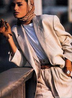 ELLE France March 1985 Costumes Masculins Toujours Efficaces Model: Yasmin Le Bon