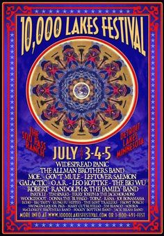 Original concert poster for the 10,000 Lakes Festival at Soo Pass Ranch, Detroit Lakes, Minnesota. 7/3/2003. Featuring Allman Brothers, Widespread Panic, Gov't Mule, moe, Galactic, Leo Kottke, et al. 13x19 card stock.      List Price: $25.00