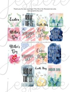 The April and May Monthly Holiday stickers are great! 8 monthly view full boxes and 7 weekly view full boxes. Happy Planner, Classic printable stickers. http://etsy.me/2oIgFez #papergoods #cincodemayo #earthday #easter #arborday #classic #happyplanner #mambi #printable