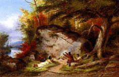 Accampamento Indiano a Big Rock I. Questo luogo, caratterizzato dalla presenza di una grande roccia nella foresta, è lo sfondo di diversi dipinti di Krieghoff.