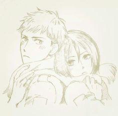 <3 Attack on Titan / Shingeki no Kyojin AoT/SnK | Jean Kirstein/Kirschtein x Mikasa Ackerman JeanKasa/JeanMika | Anime Manga cute couple OTP