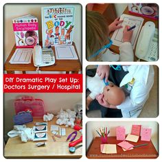 Dramatic Play Set Up - Doctors Surgery / Hospital Sun Hats & Wellie Boots: DIY Dramatic Play Set Up - Doctors Surgery / HospitalSun Hats & Wellie Boots: DIY Dramatic Play Set Up - Doctors Surgery / Hospital Doctor Role Play, Playing Doctor, Dramatic Play Area, Dramatic Play Centers, People Who Help Us, Role Play Areas, Kindergarten, Outdoor Activities For Kids, Doctor Office