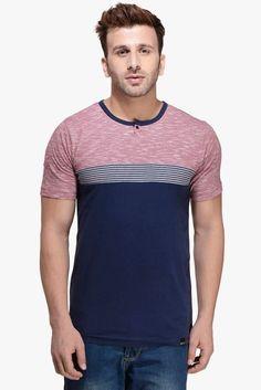 943ca87a4a4 Buy Rigo Navy Blue Striped Henley T-Shirt Online - 2597367 - Jabong