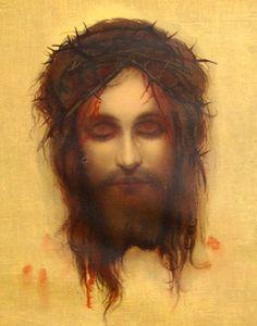 Vintage Jesus Christ Print Framed By Gab Artist Max Mystery Eyes Closed or Opened via Bettysworld4u