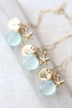 Bridesmaid Necklace Set, Bridesmaid GIFT SET of THREE Personalized Starfish Necklaces, Blue Bridesmaid Necklace, Gold, Summer Wedding