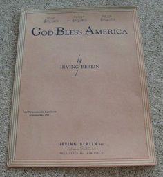 God Bless America Sheet Music, 1939 Irving Berlin Kate Smith