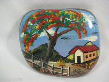 Venezuela Hand Painted Rock Stone Country Scene Tree House Collectible Souvenir
