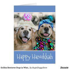 Golden Retriever Dogs in Winter Hats Hanukkah Card by #AugieDiggyStore