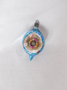 vintage glass ornament Poland royal blue with by vintagebyclaudine