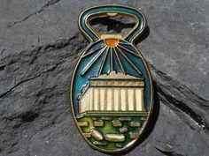 Smaltotex Bronze Bottle Opener Signed Blue Green Enamel The Parthenon Greek Temple Athens Greece Athena Grecian Collectible Souvenir Vintage...
