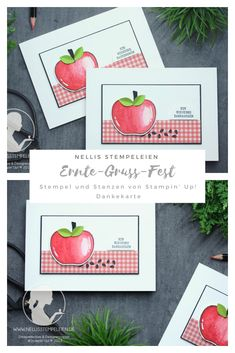 Dankekarte mit dem Stempelset Ernte-Gruss Fest von Stampin' Up! | Harvest Hellos Apple Harvest, Apples, Stampin Up, Holiday, Cards, Thanks Card, Harvest, Die Cutting, Gift Cards