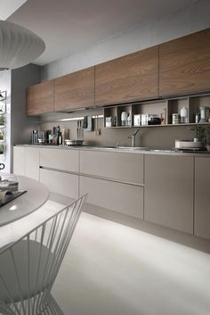 Do the kitchen wall cabinets become your lovely choice to apply in the small kitchen? This is a kind of upper cabinet design that is usua. Kitchen Design Open, Kitchen Cabinet Design, Kitchen Layout, Interior Design Kitchen, Interior Paint, Home Design, Design Design, Contemporary Kitchen Cabinets, Contemporary Kitchen Design